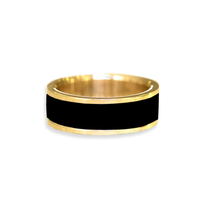 Onyx Inlay Wedding Ring