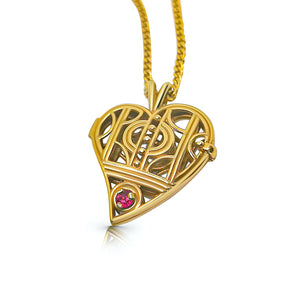 ROKUS LE COEUR PENDANT LOCKET NECKLACE WITH RUBY STONE