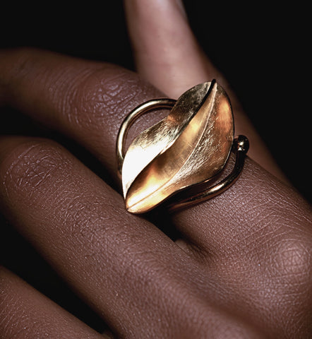 Gold Fula wrap ring in the shape of a leaf or starfruit hand carved by ROKUS London and seen on Beyonce.