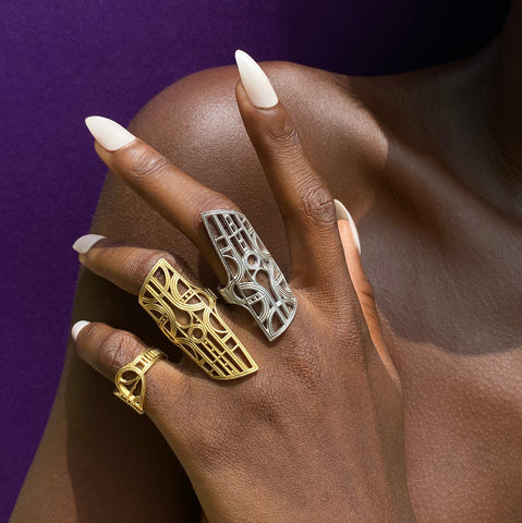 Rokus Armour ring, available in silver and gold vermeil. This filigree style unisex ring is inspired by antique Akan (Ghana and Cote d'Ivoire) tribal ceremonial gold jewels worn by royalty and other notables.
