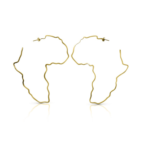 Oversize Africa hoop earrings in gold vermeil.