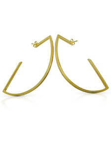 Geometric hoop earrings in 22ct gold vermeil handcrafted by ROKUS London.