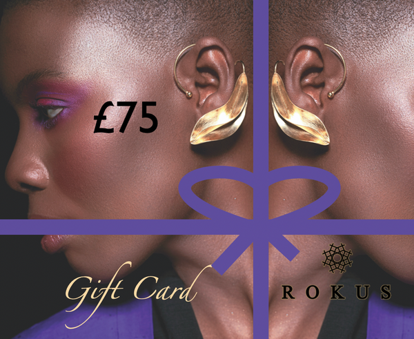 £75 gift card to purchase ROKUS London jewellery. The picture includes gold Fula earcuffs by ROKUS.