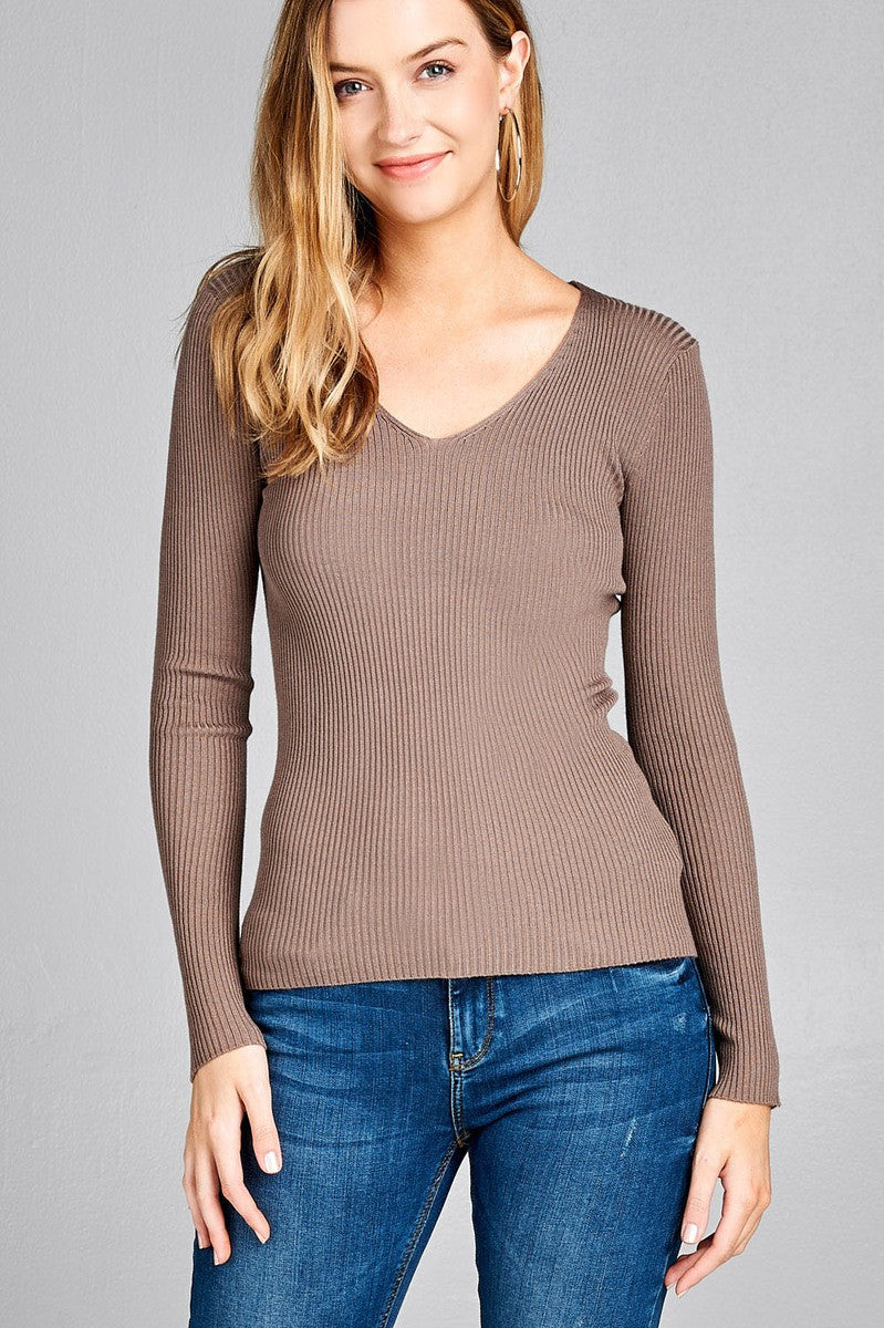 Ladies fashion long sleeve v-neck fitted rib sweater top