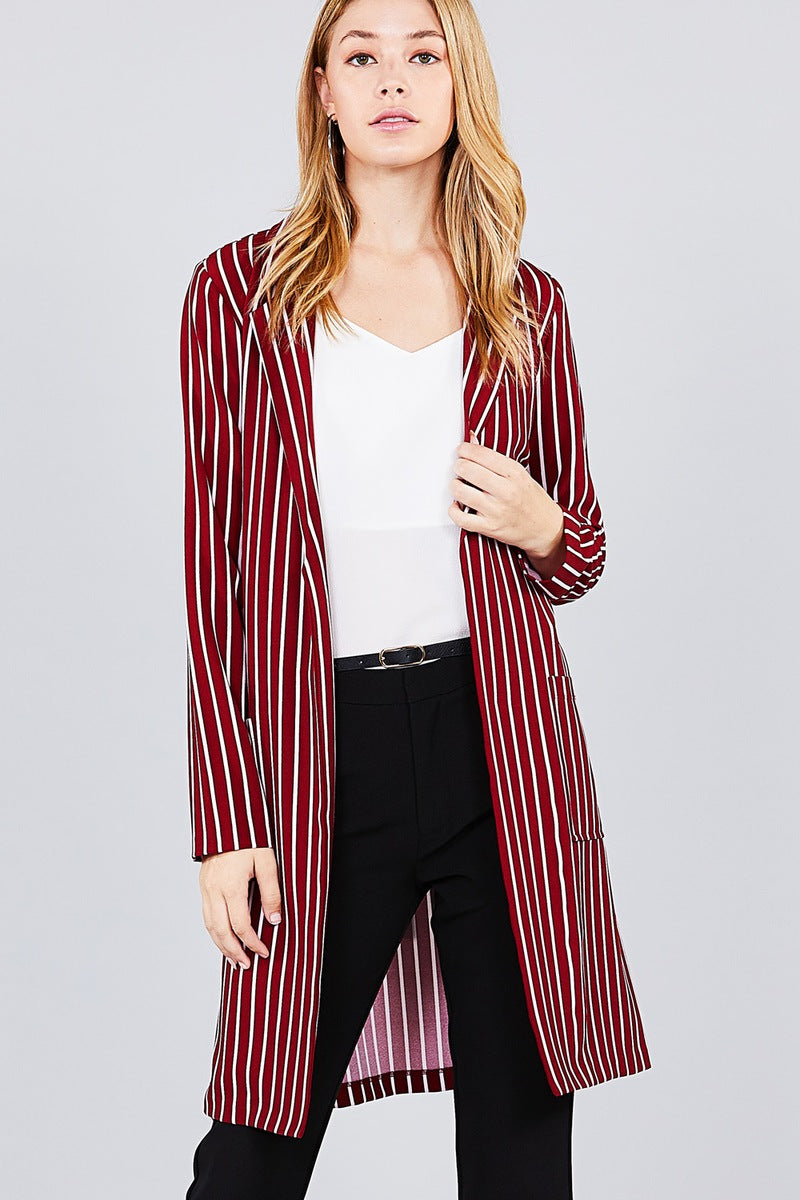 Long sleeve notched collar open front striped long jacket