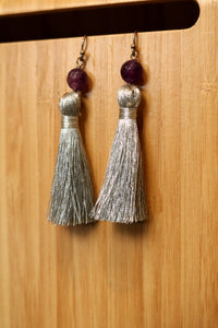 Amethyst & Tassel Earrings