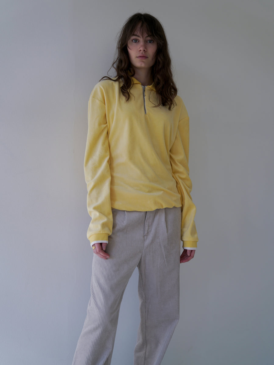 Yellow Velour Zip Sweatshirt - CARNAL APPAREL