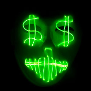LED Dollar Signs Mask (10 Colors)