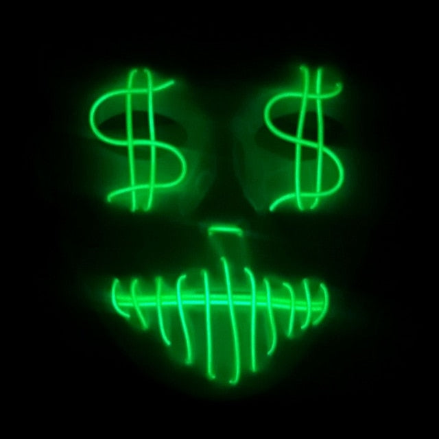 LED dollar signs mask