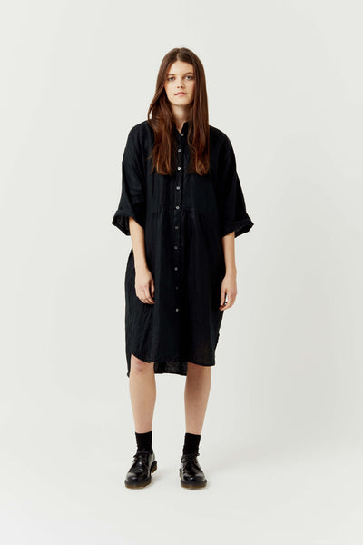 Kyoto Dress - Black Linen