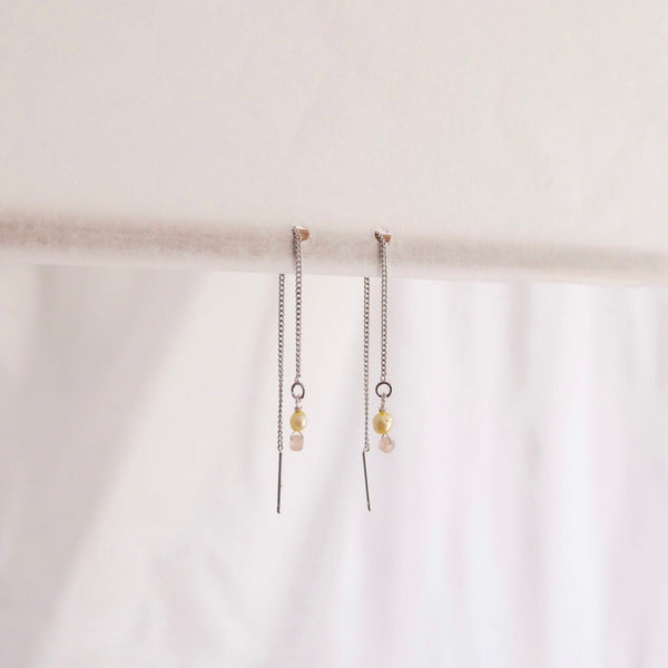 Thread earrings  Freshwater pearls - lemon + pin