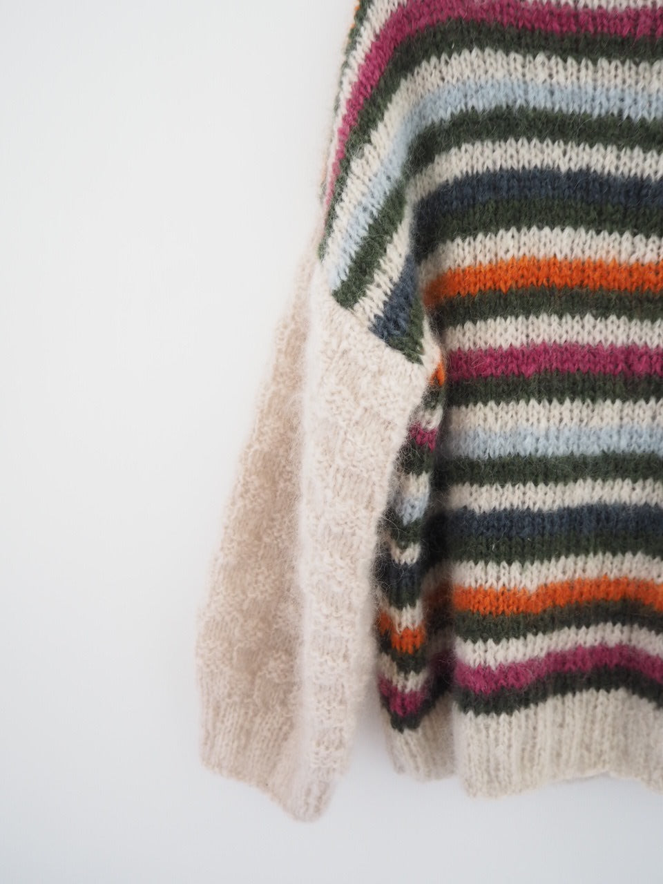 Hand knit jumper - multi coloured stripes.