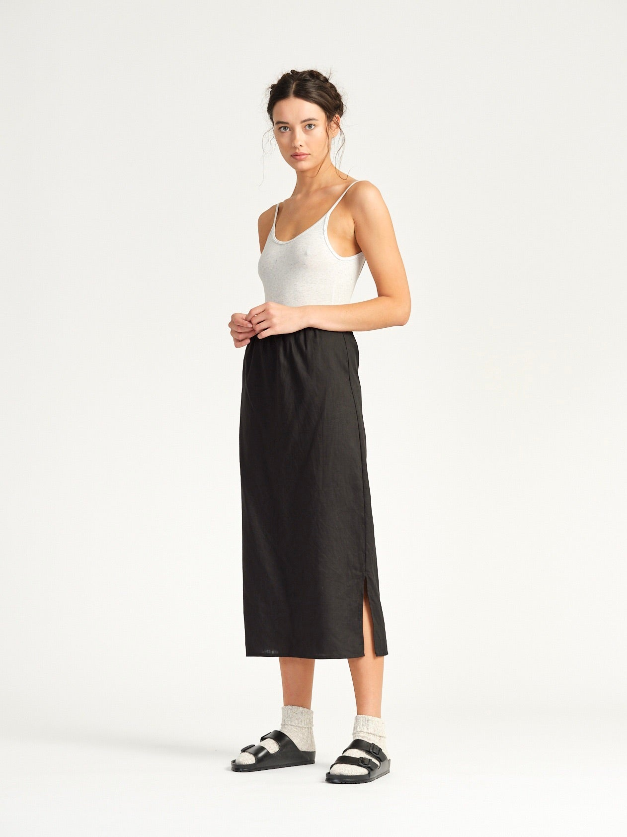 Shanghai Skirt - Black Linen