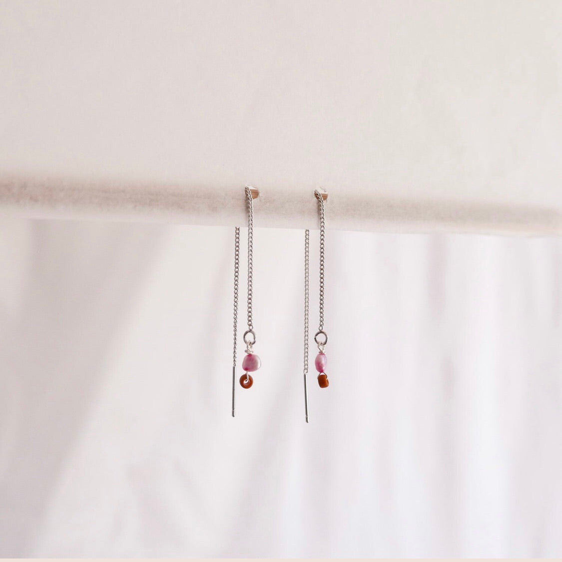 Thread earrings - Freshwater pearls - pink  + pink