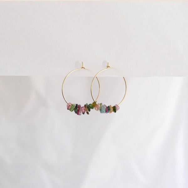 Goodheart hoops - Tourmaline + gold plate