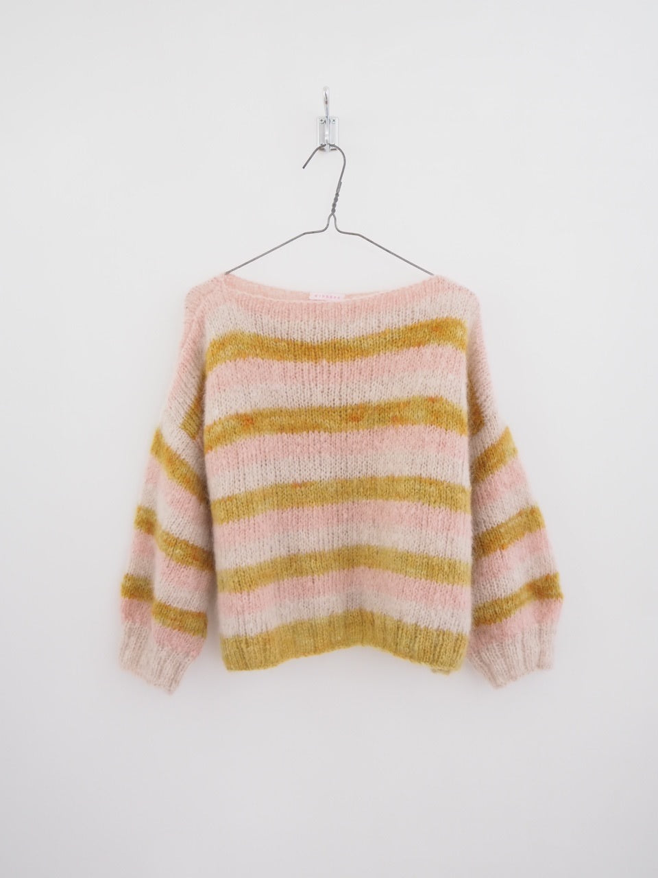 Hand knit jumper - Dusky pink, pale pink and mottled mustard stripes.