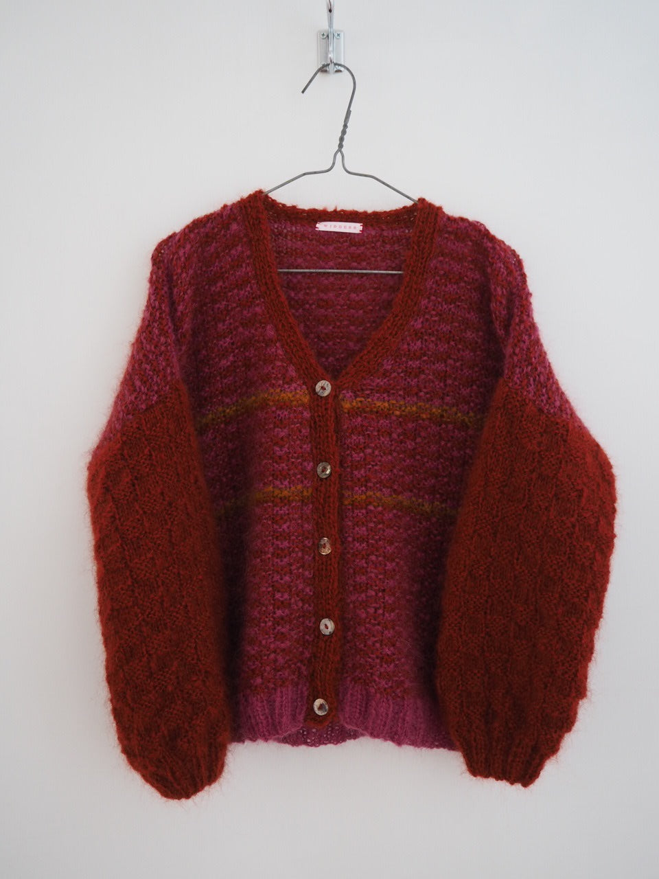 Hand knit cardi - Rhubarb + orange + paprika