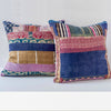 Piecework Textile Pillow- Indigo and Pink