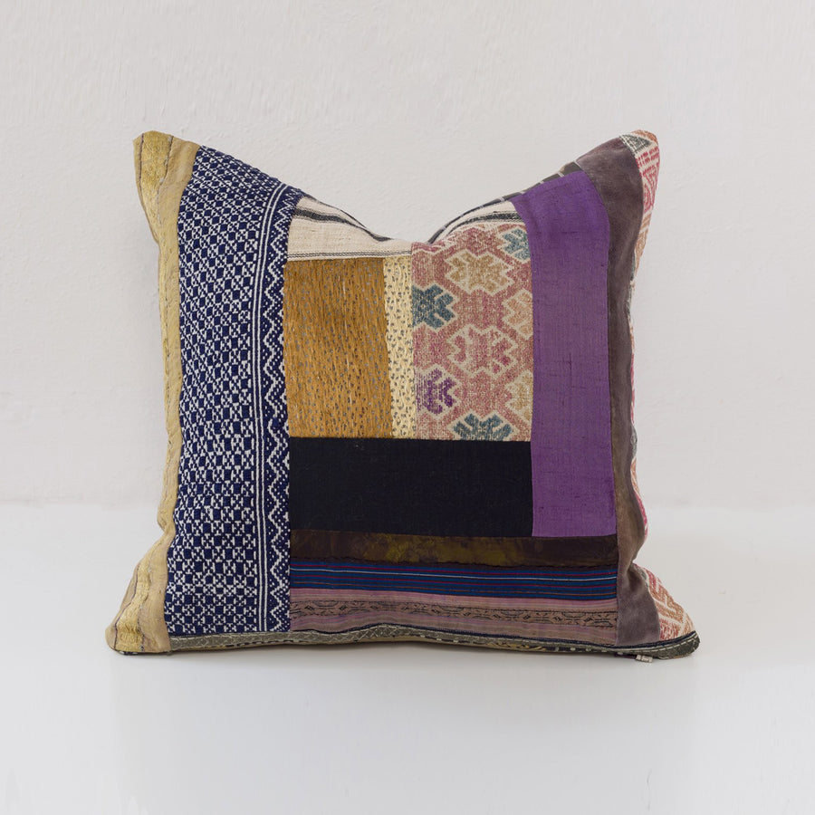 Grady Pillow -- Purple Gold Blue