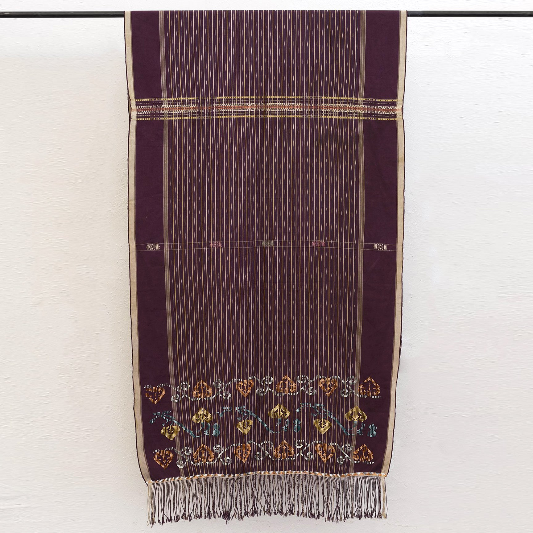 Textile Collection Laotian Beaded Throw- Maroon, Gold and Indigo