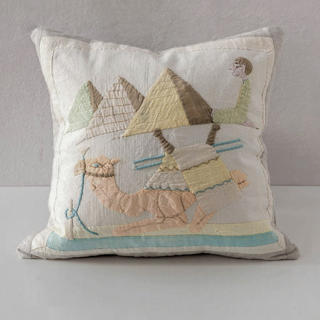 Egyptian Appliqué Trade Pillow - Yellow Blue Orange
