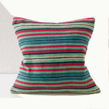 Aso Oke Collection Textile Pillow in Green Red Turquoise