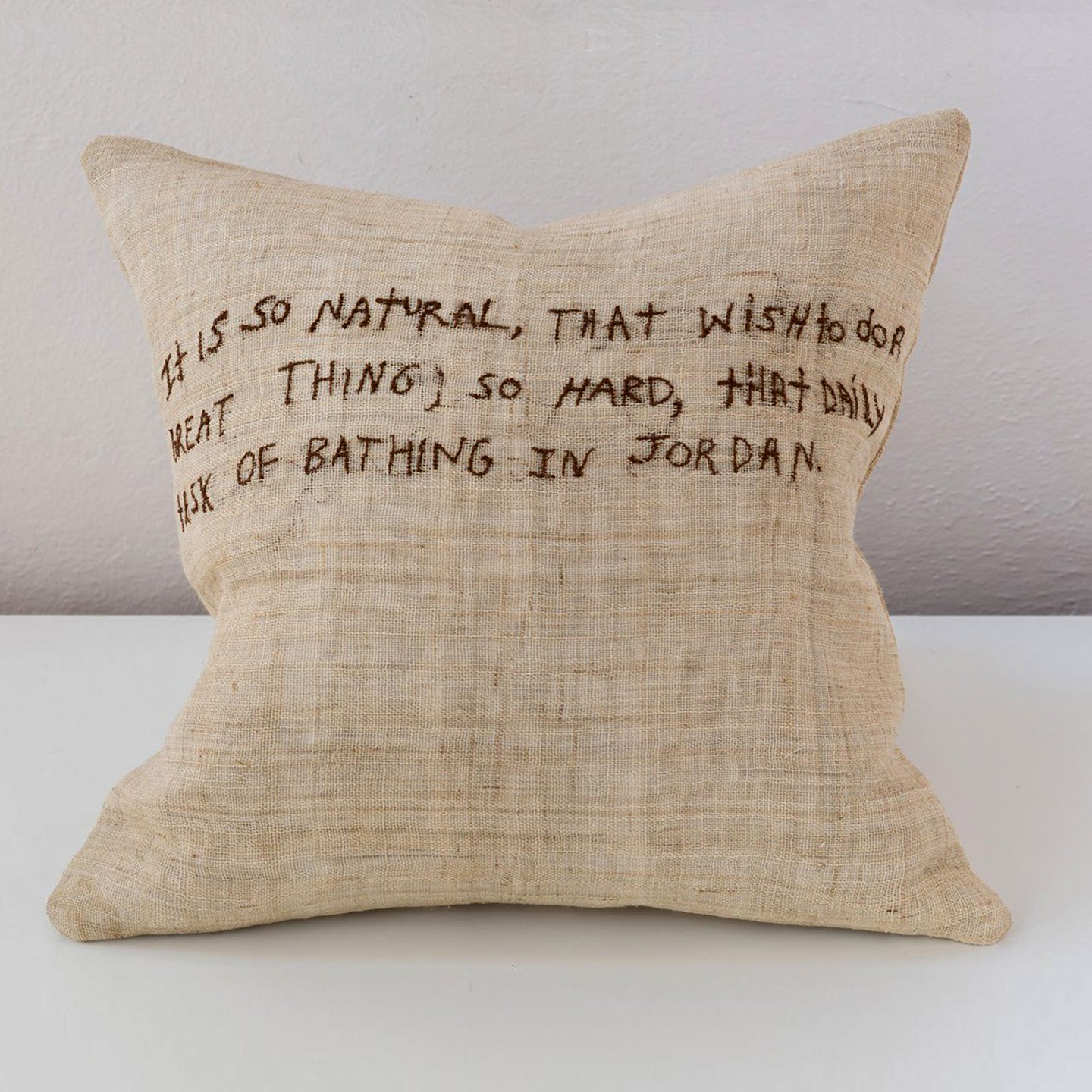 Text Collection - Embroidered Hemp Pillow - Anthony Trollope