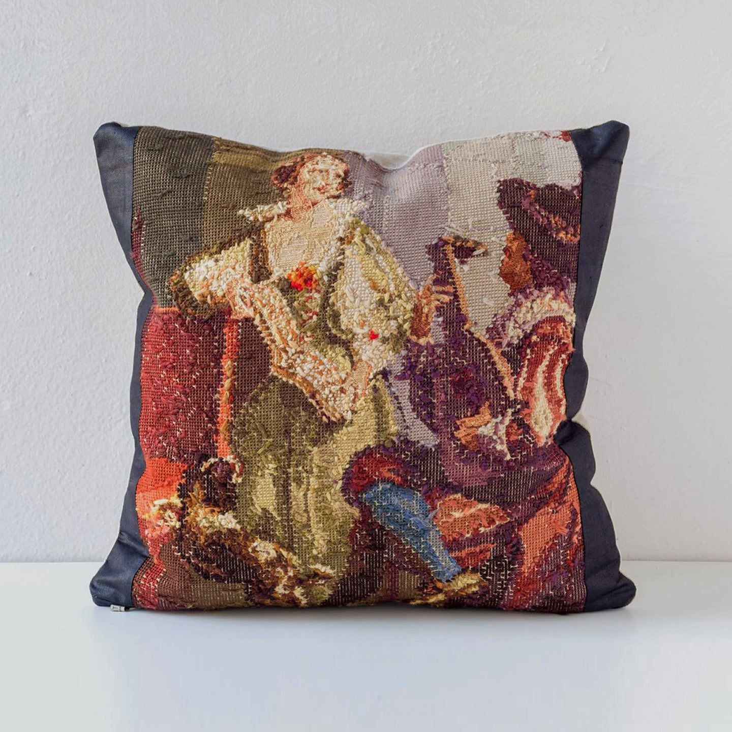 Needlepoint Collection Pillow - Musical Scene in Browns and Bronze