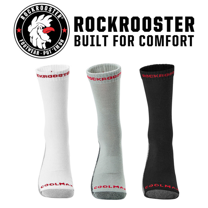 RockRooster CoolMax Men's Moisture Control Durable Work Crew Socks 3 Pairs - Rock Rooster Footwear Inc