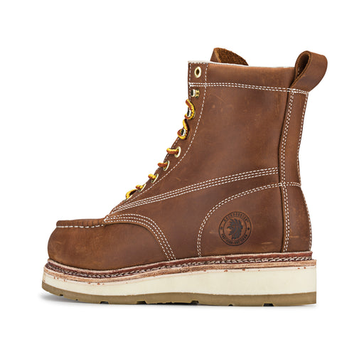 ROCKROOSTER Men's 7 inch Brown steel toe wedge work boots AP621 - Rock Rooster Footwear Inc