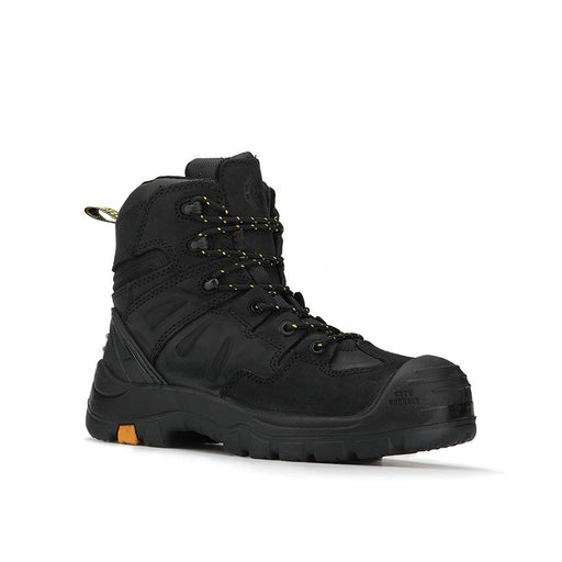 Black 6 inch Composite Toe Leather Work Boots AK609