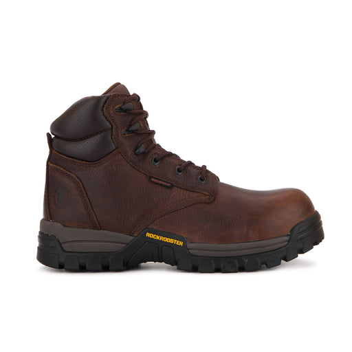 ROCKROOSTER Men's 6 inch Metalfree Work Boots,Comp Toe,Waterproof,Electrical protection, Anti Puncture,X-Wide(AT-697 PRO Dark Brown, Delleker)-2