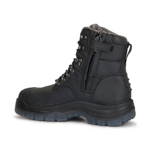 ROCKROOSTER Men's Work Boots, Steel Toe, Antistatic, Safety Leather Shoes,Side Zipper, AK-245Z Kensington