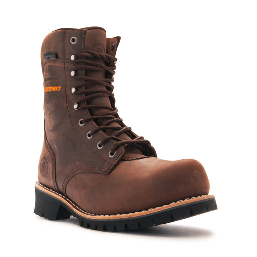 ROCKROOSTER 9 inch DarkBrown Work Boots,Composite Toe,Waterproof,Anti-Puncture,ASTM2413 AP155 - Rock Rooster Footwear Inc