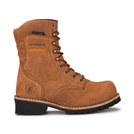 ROCKROOSTER Men's 9 inch Golden brown leather Logger Work Boots, Composite Toe, Waterproof, Kevlar Anti-Puncture, Safety boots, (AP156)