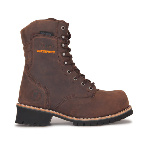 ROCKROOSTER Men's 9 inch Dark brown leather Logger Work Boots, Composite Toe, Waterproof, Kevlar Anti-Puncture, Safety boots, (AP155)