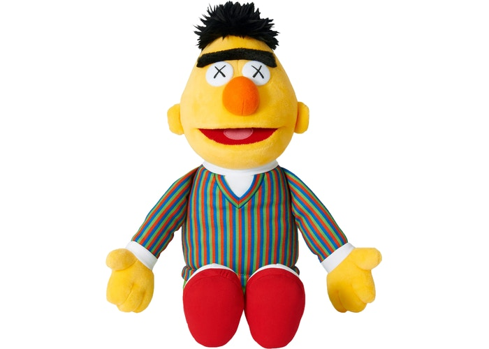 KAWS Sesame Street Uniqlo Bert Plush Toy Yellow