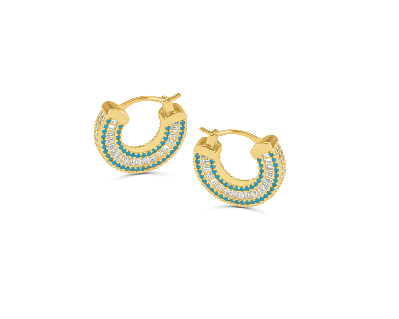 FAX jewelry | Baby Blues Gold & Turquoise Mini Hoops