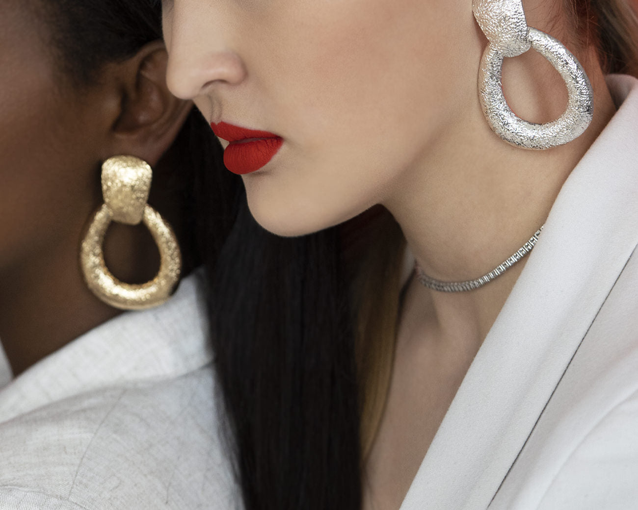 FAX Jewelry | Door Knocker Hoop Earrings | Gold on Model