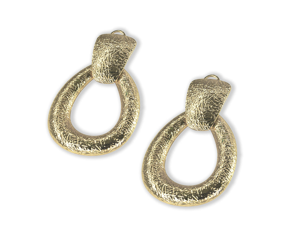 FAX Jewelry | Door Knocker Hoop Earrings | Gold