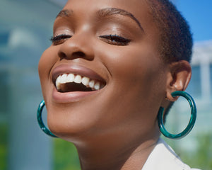 FAX Jewelry | Green With Envy | Acrylic Hoop Earrings | Model View