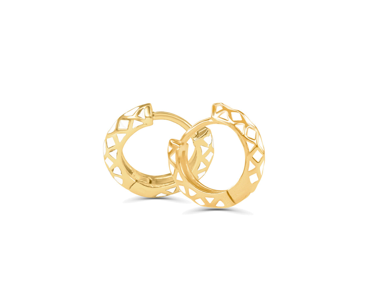 FAX Jewelry | 'Hug It Out' huggie hoop earrings | White and Gold