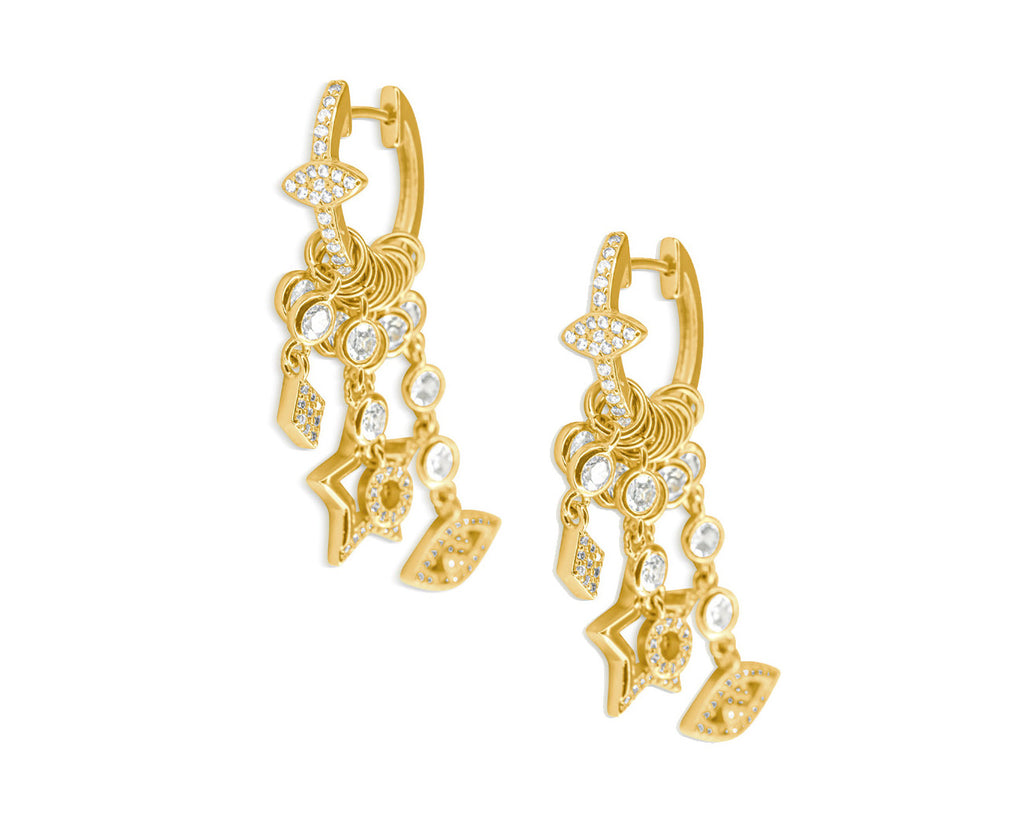 FAX Jewelry | 'Lucky Charms' Huggie Hoop Earrings in Gold