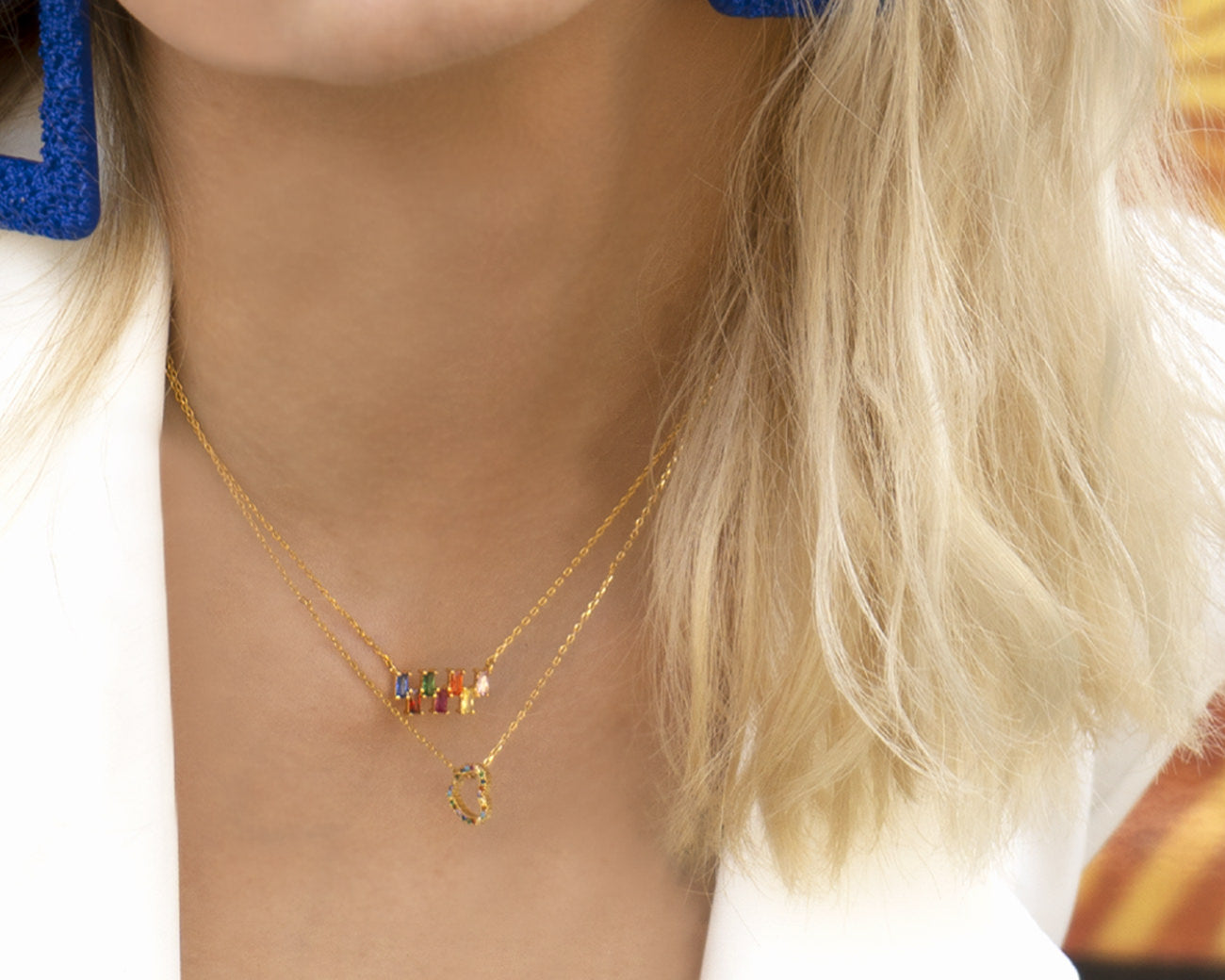 FAX Jewelry | 'Lucky Number 7' Rainbow Gold Necklace | Model