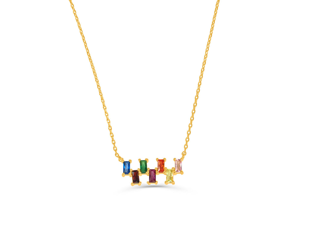FAX Jewelry | 'Lucky Number 7' Rainbow Gold Necklace