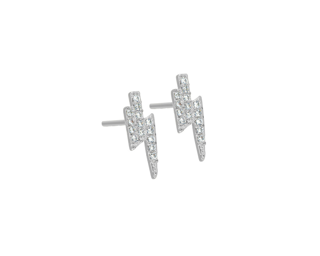 FAX Jewelry 'Micro Lightning Bolt' Stud Earrings  | 24K White Gold
