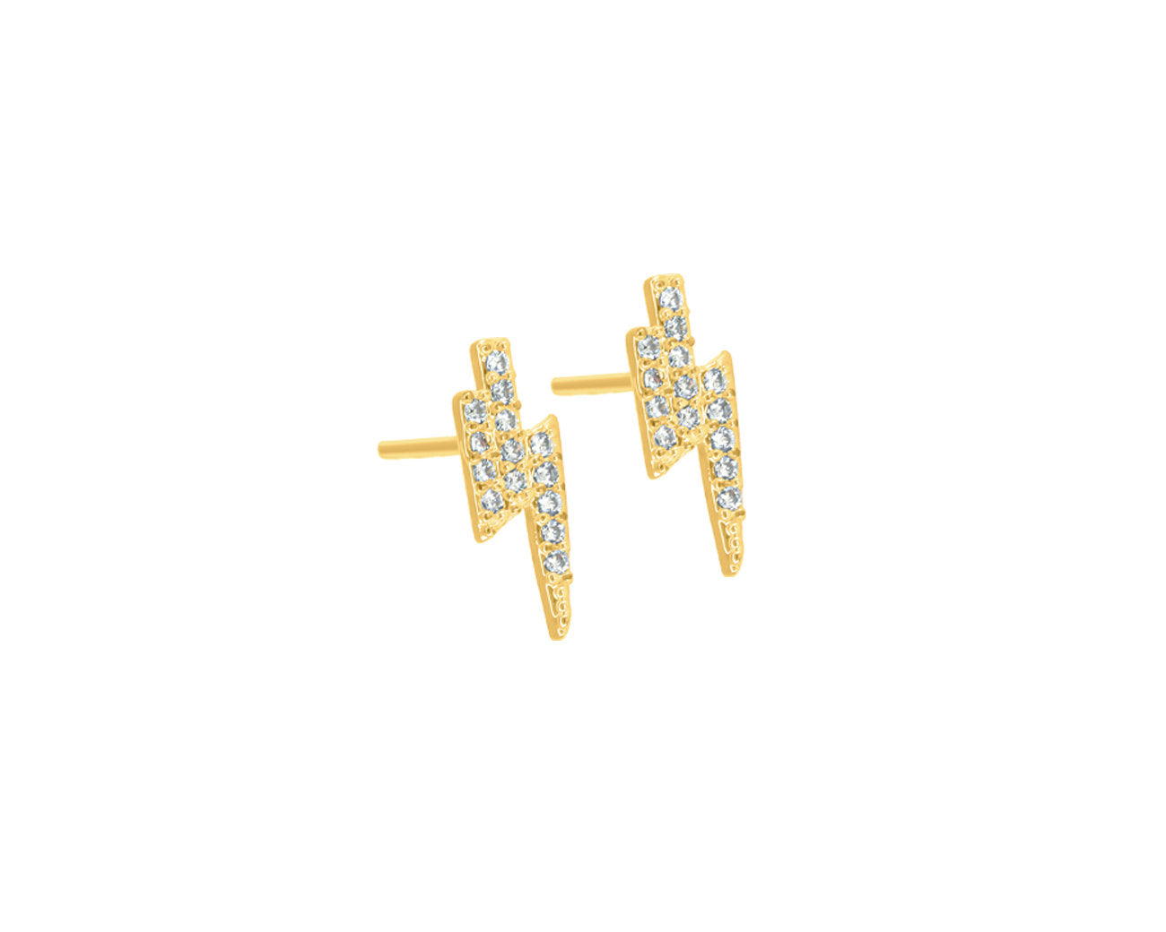FAX Jewelry | 14k Gold Plated Micro Lightning Bolt Earrings