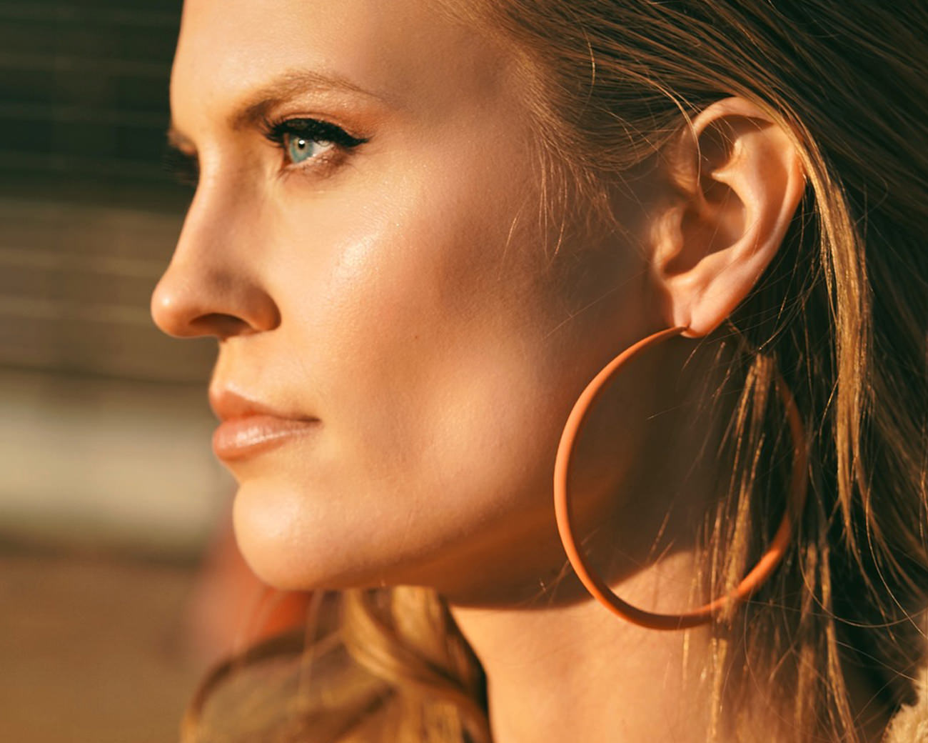 FAX Jewelry 'Orange Crush' Oversized Hoop Earrings  | On Model