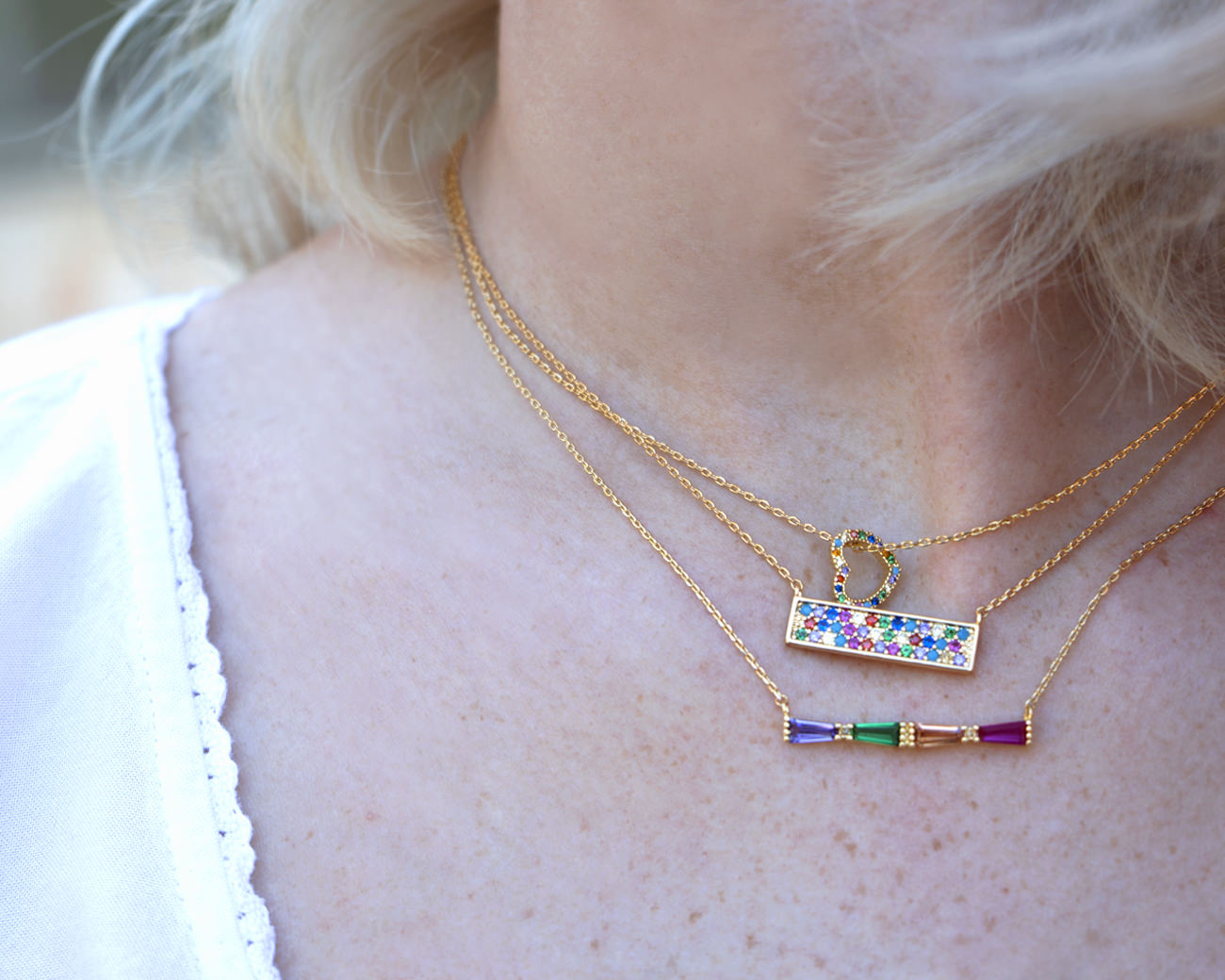 'FAX Jewelry 'Rainbow Bar' 14K Gold Dipped Necklace