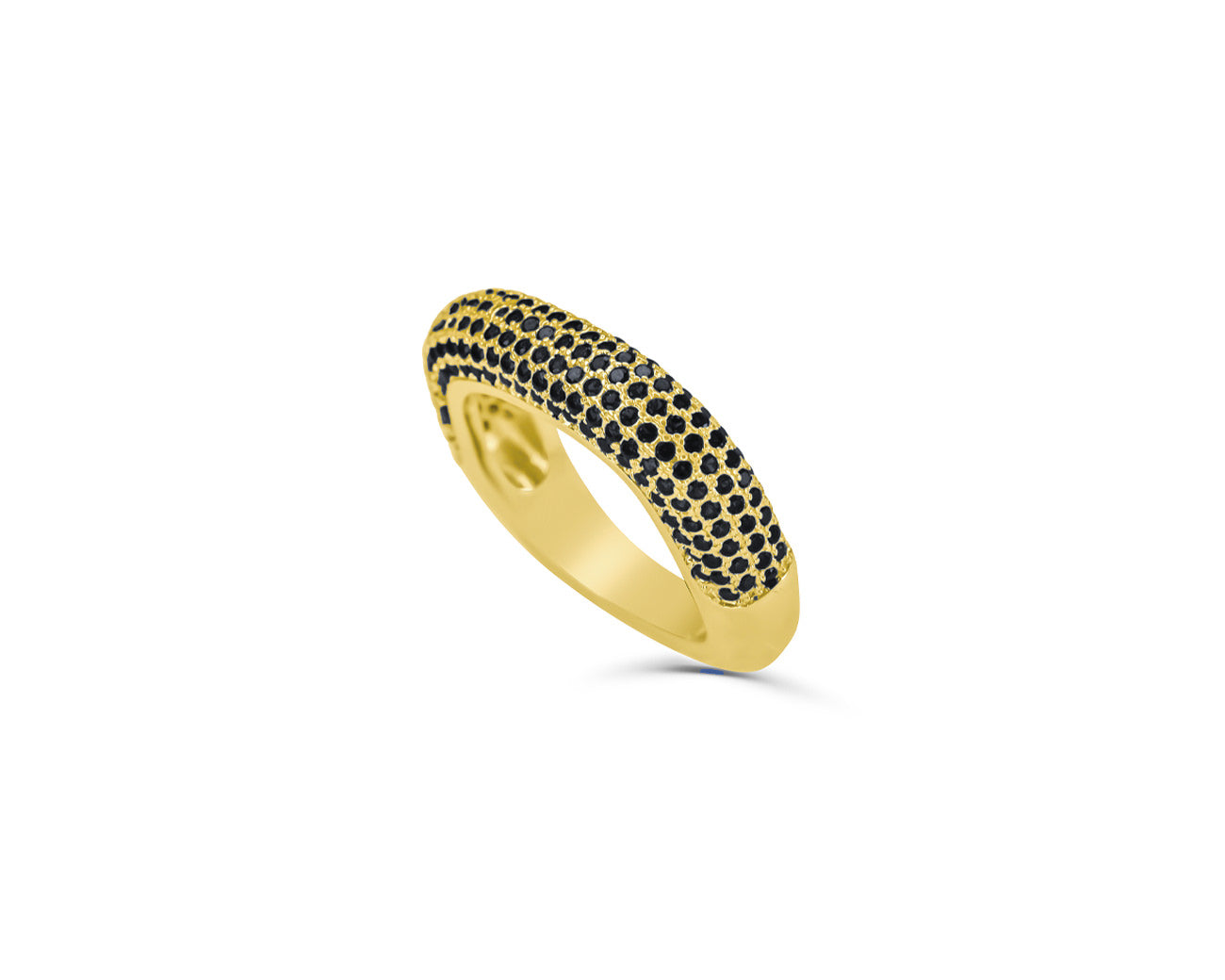 FAX Jewelry | Anything But Square 18K Gold and Black Stones Stack Ring